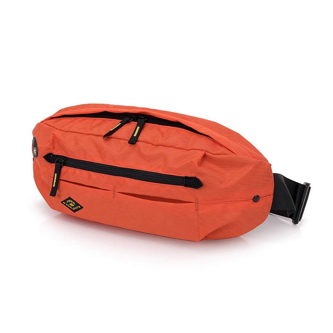 RABILTY Belt Holster Bag Fanny Waist Pack Crossbody Bag for Men Boy Orange Nylon Travel Neck Pouch Color : Orange