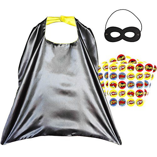 His And Her Costumes Diy (Superhero Capes, Reversible Costume with Mask & Superhero Stickers for Kids)