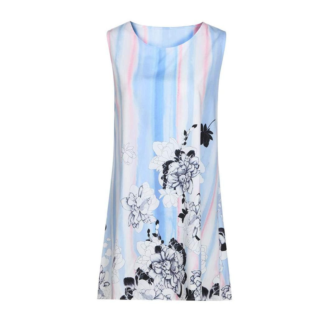 UONQD 2019d Short Sleeve Round Neck Triple Color Block Stripe T-Shirt Casual Blouse(Small,e-Blue) by UONQD (Image #3)