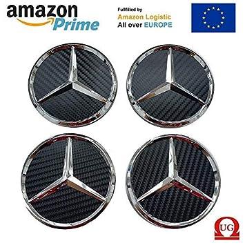 OEM Sistema 4 HUB Cap Mercedes Benz 75 mm de Bastones con Carbono Negro y Logotipo de Metal Ligero Tapas para Ruedas: Amazon.es: Coche y moto
