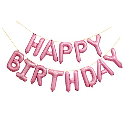 Amazon GOER Light Pink Happy Birthday Balloons16 Inch Foil Letter Balloons Banner For Party Decorations Kitchen Dining