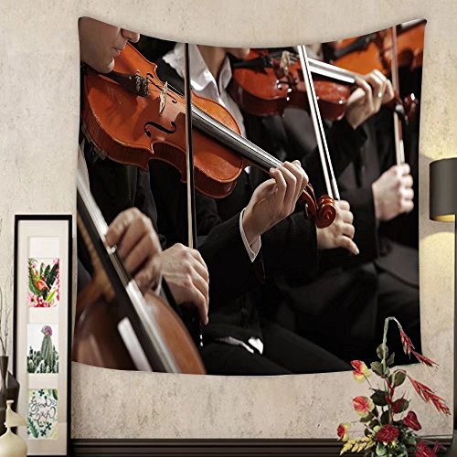 Grace Little Custom tapestry symphony music violinist at concert hand close ()