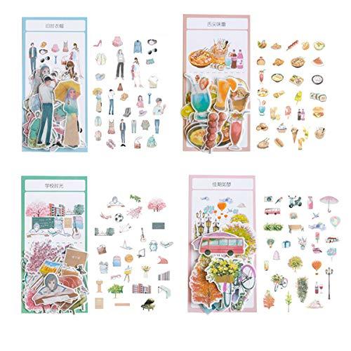(Kawaii Washi Paper Stationery Sticker Set (4 Pack, 240pcs) Fashion Girls Boys Food Drink Ice Cream Hamburger School Supplies Leisure Time Travel Stickers for Arts Craft Scrapbooking Planner)