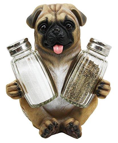 - Ebros Gift Realistic Adorable Hugging Pug Dog Decorative Glass Salt Pepper Shakers Holder Resin Figurine 6.25