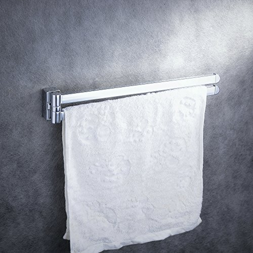 Swing Out Towel Rail Rack, Barra de toalla de acero inoxidable 2-Bar Brazo plegable Swivel Hanger Baño Storage Organizer Ahorro de espacio Mount Mount, ...