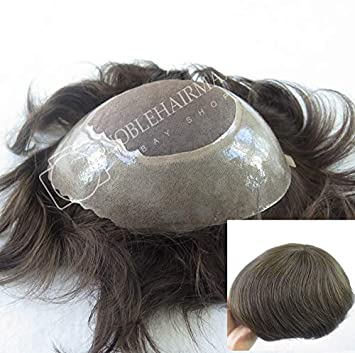 05f7075b5 Amazon.com : Durable Hair Replacement for Men Human Hair System Fine Mono  Hairpieces Poly Skin Toupee Male Wigs Super Handrafts Various Colors (#5) :  Beauty