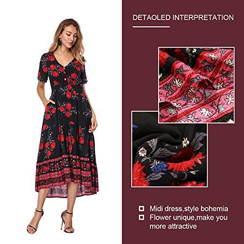 V Falda Casual Negro Mujer Elegante Cuello Ajustado Largo Vestido Redondo Verano Costura Beauty Top y Print Corta Manga Escote Floral Lover 8nRq4wxUg