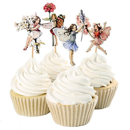 24pcs Flower Fairy Cupcake Toppers Picks for Birthday Decorations New Year Easter Halloween Party Cake Decoration -