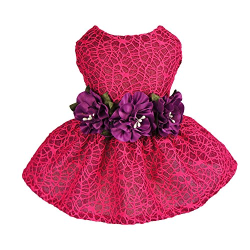 Fitwarm Floral Pet Clothes for Dog Dresses Cat Vest Shirts Hot Pink Large by Fitwarm