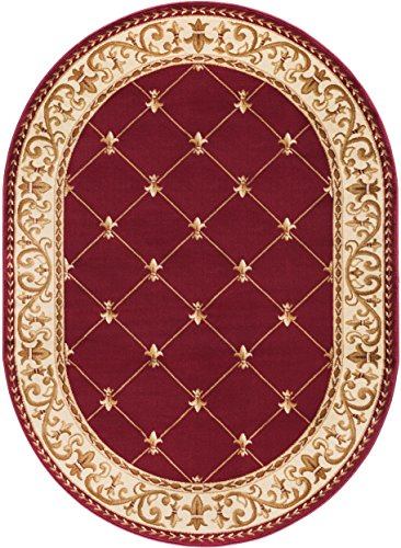Border Red Area Rugs (Orleans Traditional Border Red Oval Area Rug, 5' x 7' Oval)