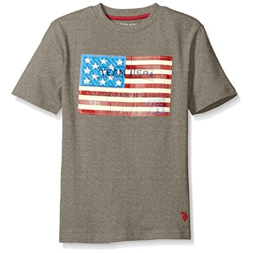 U.S. Polo Assn. Boys' Crew Neck Iconic Graphic Logo T-Shirt,Medium Heather Gray,10/12
