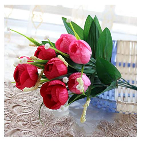 (JIAHUAHUHH Single Bundle of European Artificial Flowers, Fake Flowers, Single Decorative Silk Flowers,Star Tea Bag Rose red,32cm)