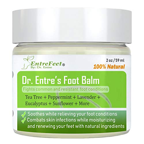 Dr. Entre's Foot Balm: Organic Antifungal Relief for Dry Feet, Calluses, Athletes Foot, Toenail Fungus, Odor, and More - Essential Oil Based Cream - Foot Care E-Book Included (Get Him To The Greek Black Guy)