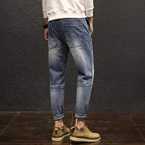 Ragazzo Fit In Denim Regolare Casual Slim A Moda Pantaloni Jeans Retrò Blau Vestibilità Da Uomo 4B8IOq0