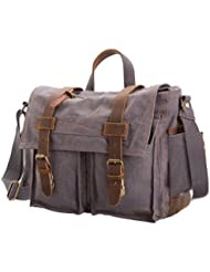 Military Satchel Messenger Bag Vintage Canvas Travel Bag for 17.3 inch Laptop
