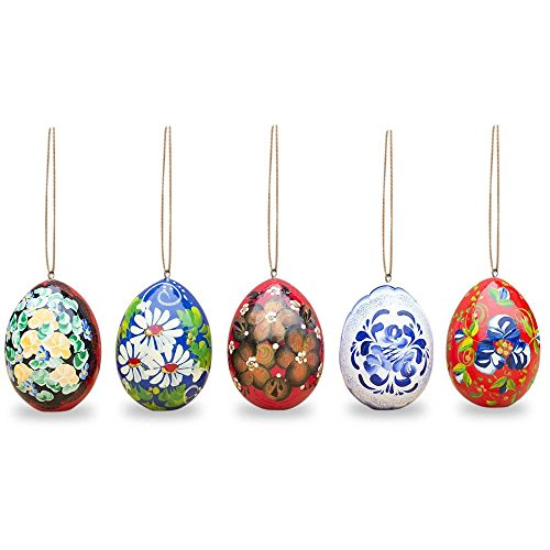 Set of 5 Flowers Wooden Pysanky Easter Egg Ornaments