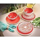 Melamine 18-PC dinnerware Set, Coral Mother of Pearl Design