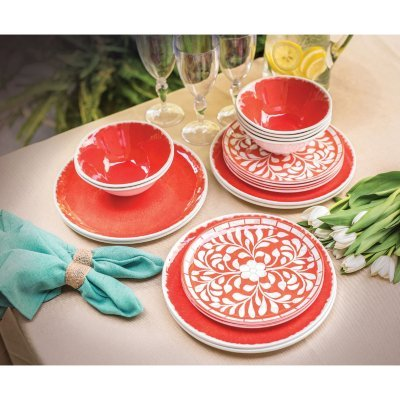 Melamine 18-PC dinnerware Set, Coral Mother of Pearl Design For Sale