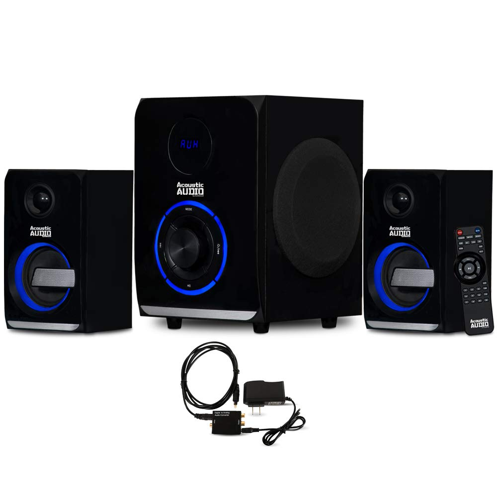 Acoustic Audio AA2105 Bluetooth Home 2.1 Speaker System with LED Lights and Optical Input