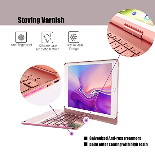 Keyboard for iPad 6th Generation 9.7inch (2018)-iPad 2017(5th Generation)-iPad Pro 9.7inch -iPad Air 2 &1, Wireless/BT-360 Rotatable -Breathing LED & 7 Colors Backlit - iPad Keyboard Case(Rose Gold) by Bosixty (Image #3)