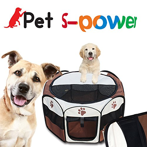S-power Pet Portable Foldable Playpen Exercise Kennel Dogs Cats Indoor/outdoor Removable Mesh Cover