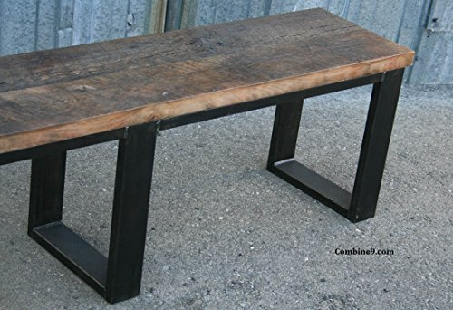 Modern industrial bench, Reclaimed Wood Dining Seating. Urban.