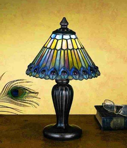 Tiffany Jeweled Peacock Mini Table Lamp