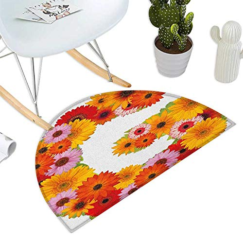 Letter G Half Round Door mats Composition with Fresh Garden Flowers Lively Summer Time Inspired Floral Font Bathroom Mat H 47.2'' xD 70.8'' Multicolor by homehot (Image #1)