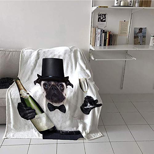 (Khaki home Children's Blanket Convenience All Season Blanket (60 by 80 Inch,Pug,Celebration Dog with Champagne Bottle While Toasting Happy Moments Photographs,Black White Emerald)