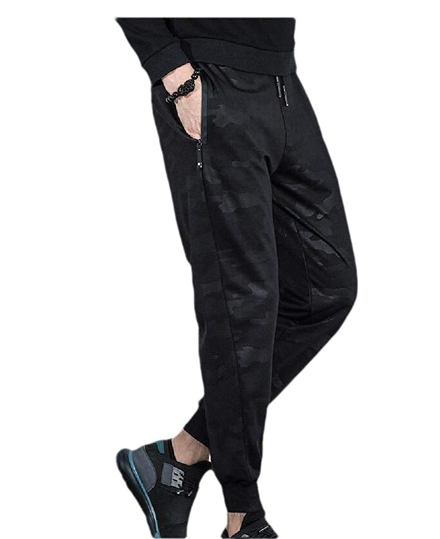 Abetteric Mens Camouflage Drawstring Pockets Relaxed-Fit Sport Trousers Pants