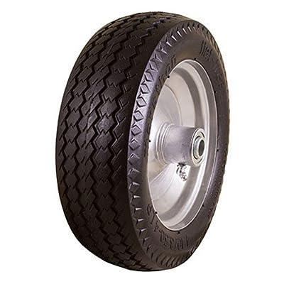 "Marathon 4.10/3.50-4"" Flat Free Hand Truck Tire on Wheel, 2.25"" Offset Hub, 5/8"" Ball Bearings, Sawtooth Tread"