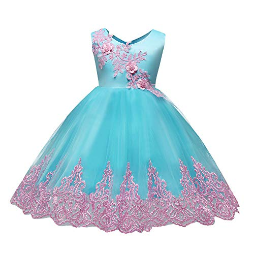 Price comparison product image FEITONG Child Girls Sleeveless Embroidered Lace Bowknot Princess Wedding Performance Formal Tutu Dress(12-18M,Blue)