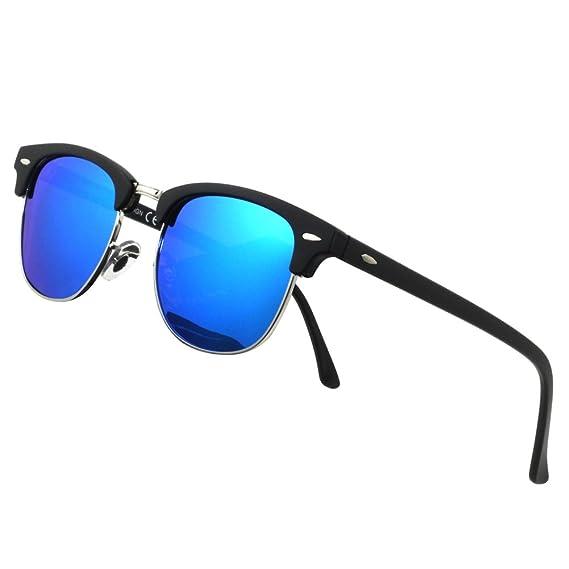1994fcaec06 Tacloft Classic Clubmaster Sunglasses Polarized 51MM Horn Rimmed Sunglasses  Half Frame TL6005 (Black Frame