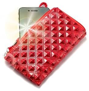 """""""Princesa"""" Rojo, Lujosa billetera de cuero de imitación acolchonado con cierre para LG LinkMe. Auténtica Funda / Estuche con correa para transportar para teléfonos móviles."""