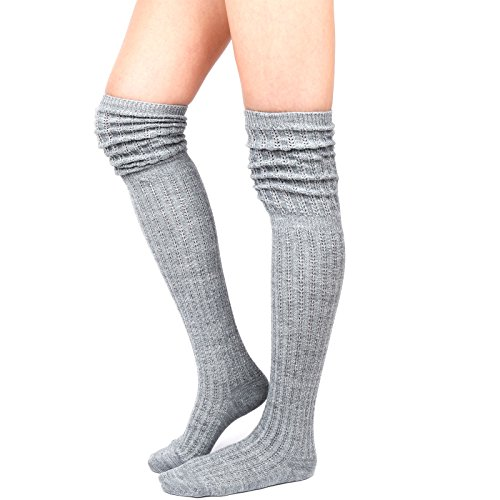 WOWFOOT Ladies' Knit Over The Knee High Socks Women Girl Slouch Stockings Boots (Gray(Silver Glitter)) (Sock Boot Silver)