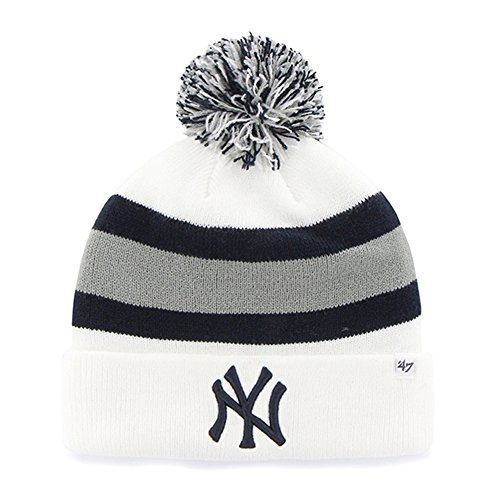 White Striped Beanie (MLB New York Yankees '47 Brand Breakaway Cuff Knit Hat with Pom, White, One Size)