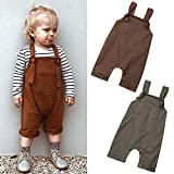 Vohawsa Baby Girl Boy Strap Suspender Overalls Pant Solid Jumpsuit Bib Pants One-Piece Romper Bodysuit Summer Spring Fall Clothes