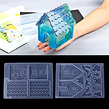 Yalulu Christmas House DIY Silicone Mold Jewelry Resin Gingerbread House Casting Mould for DIY Craft Making