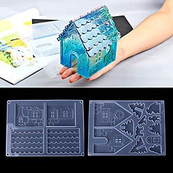 yalulu 2pcs silicona moldes para resina de moldeo de pan de jengibre de casa navideña bisutería molde DIY mano Craft herramienta: Amazon.es: Hogar