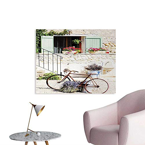 (Tudouhoho Bicycle Wall Poster European French Mediterranean Rural Stone House with Bike Countryside Provence Day Photo Wall Paper Multi W32 xL24 )