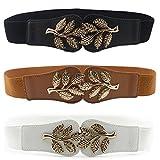 Womtop Woman Waist Belt Elastic Stretch Vintage Dress Belt 3 PCS Cinch Belt with Fashion Metal Interlock Buckle (Leaf (Black+White+Brown), Free)