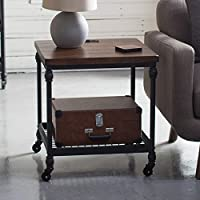 Rustic Industrial Chic Espresso Finish Wood Metal Cart Style End Table With Plug In USB Port Living Room Furniture