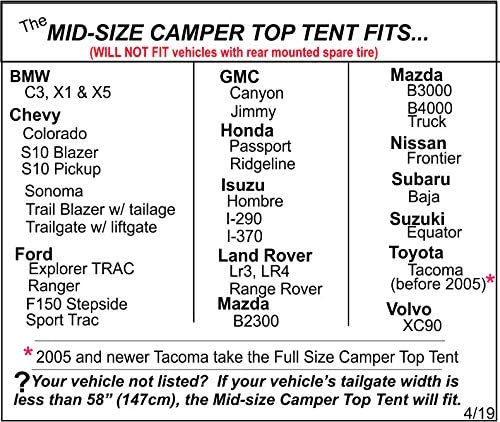 DAC Mid Size Truck Tent by Dac Inc