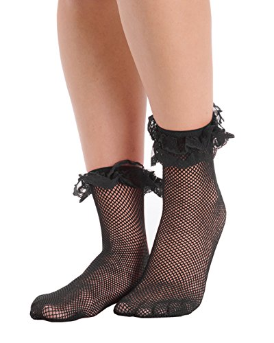 Womens Fishnet Ankle Socks Ruffle Lace Trim Crew Anklet Black White or Red Color: Black