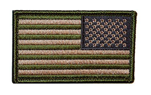 Reverse American Flag Patch OD Green