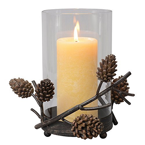 BLACK FOREST DECOR Pinecone Hurricane Cabin Candle Holder