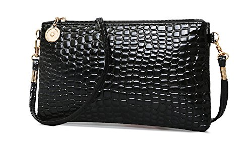 Women Crocodile Pattern PU Leather Crossbody Handbag MINI Messenger Bag Sling Shoulder Handbags Zipper Tote Bags (Black) Crocodile Travel Bag