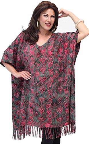 Lotustraders las mujeres del batik Poncho Top Rosa