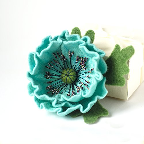 Turquoise Flower Brooch Blue Jewelry Wool Poppy Brooch Blue Poppies Jewelry Holiday Jewelry Mothers Day Gifts Gifr for Sister Fashion Jewelry Wet Felting