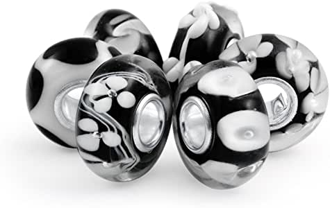 Black Floral Murano Glass Mix Of 6 Sterling Silver Core Spacer Bead Fits European Charm Bracelet For Women For Teen